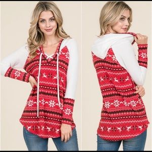 ⭐️Fair Isle Holiday Lace Up Top⭐️
